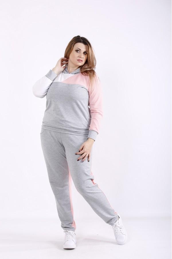 Фото Удобный серо-розовый спортивный костюм   01271-3