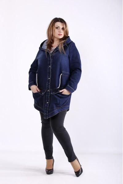 Фото Темно-синяя длинная джинсовая куртка с капюшоном | j01262-1