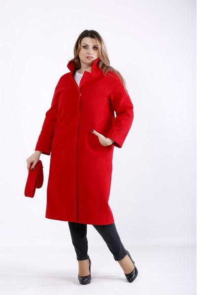 Фото Стильне червоне кашемірове пальто | t01268-1
