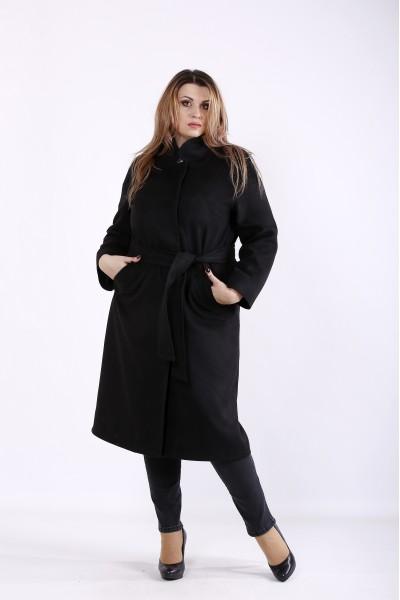 Фото Зручне елегантне чорне пальто з кашеміру | t01268-2