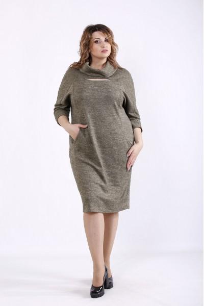 Фото Гірчичне вільне плаття   01272-3