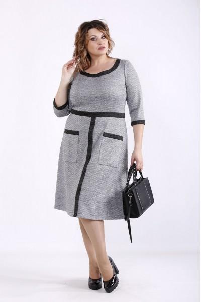 Фото Сіре осінньо-зимове плаття з ангори | 01274-2