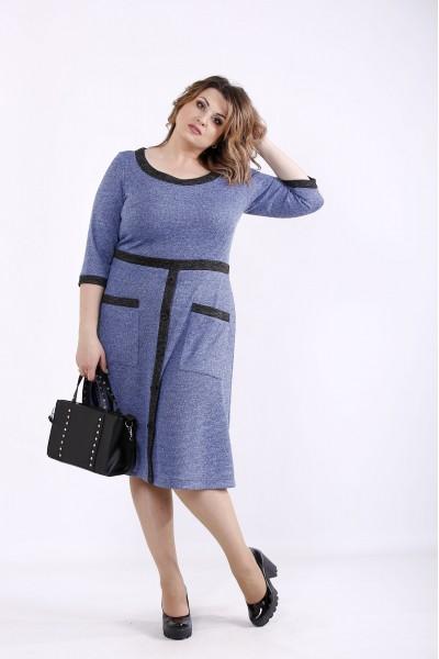Фото Синє осінньо-зимове плаття з ангори | 01274-3