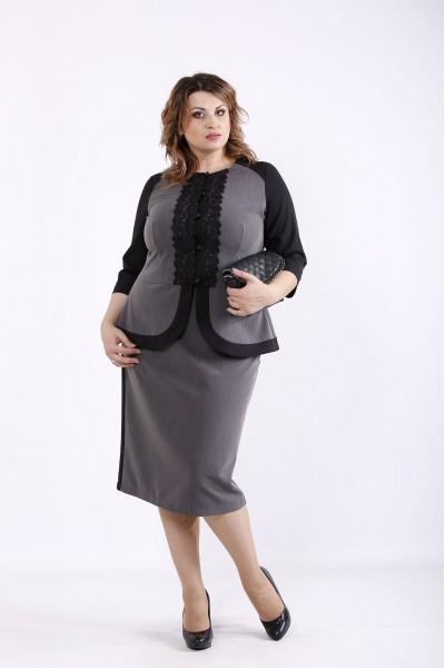 Фото Ошатний костюм сірого кольору з чорними вставками | 01276-1