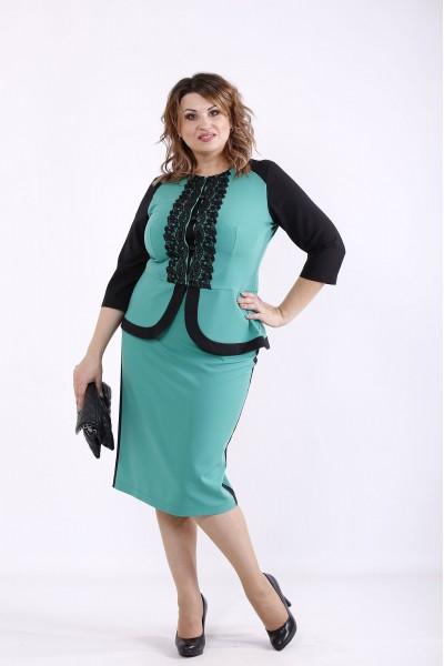 Фото Зелений костюм з мереживними вставками | 01276-3