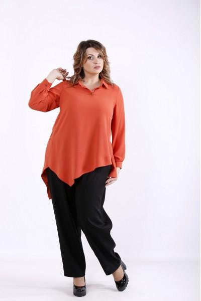 Фото Костюм: теракотова блузка і чорні брюки | 01281-3