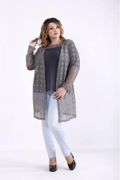 Фото Серый комплект: блузка и жакет | 01283-2