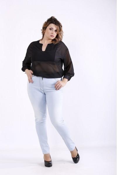 Фото Черная шифоновая блузка   01287-3