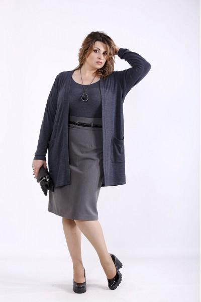 Фото Синій комплект: накидка і блузка | 01292-2