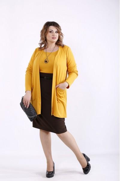 Фото Помаранчевий комплект: накидка і блузка | 01292-3