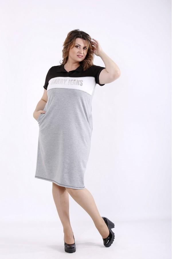 Фото Серое комбинированное платье   01296-2