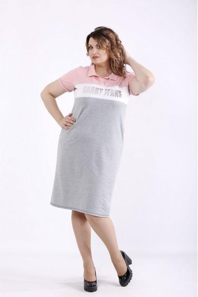Фото Серое с розовым платье | 01296-3