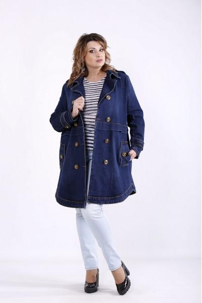 Фото Удлиненная джинсовая куртка синего цвета | j01263-1