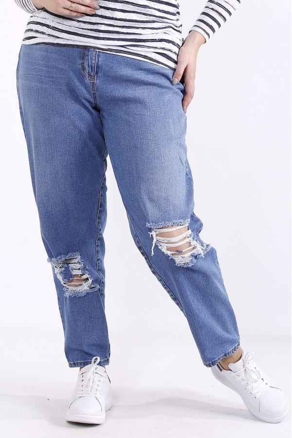 Фото Голубые джинсы с порванными коленками | j063