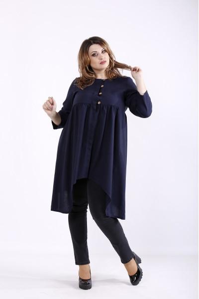 Фото Синяя льняная блузка   01297-2