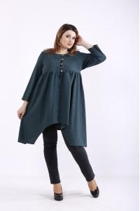 Зеленая блузка из льна | 01297-3