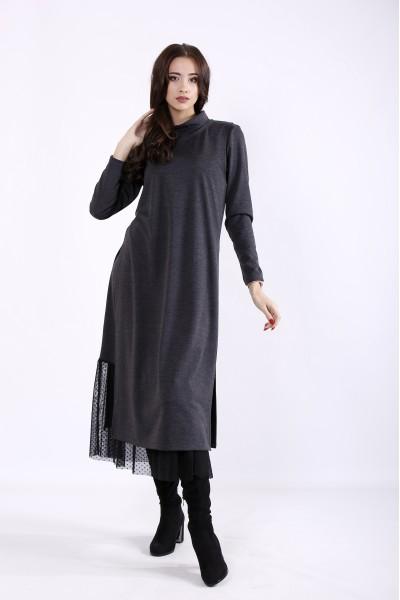 Фото Серый комплект: платье и жилет | 01301-1