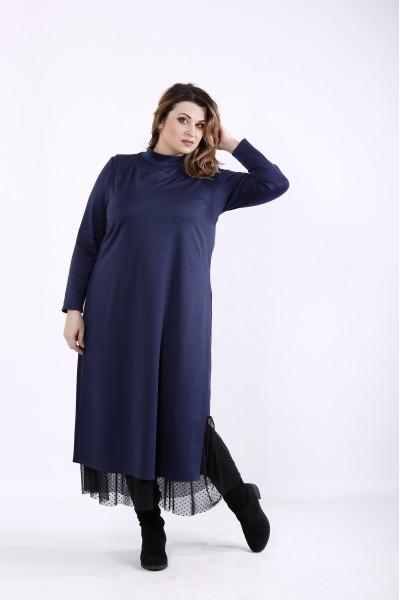 Фото Синий комплект: платье и жилет | 01301-2