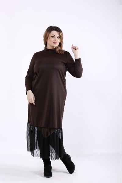 Фото Шоколадный комплект: платье и жилет | 01301-3