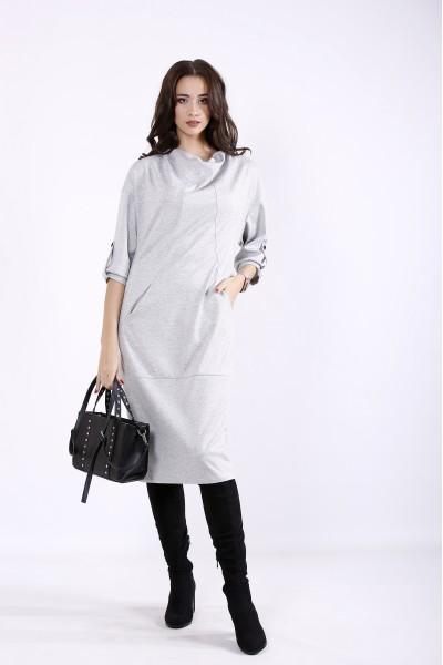 Фото Светло-серое осенне-зимнее платье | 01302-1