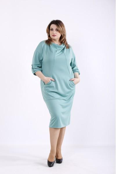 Фото Зелена сукня з кишенями   01302-2