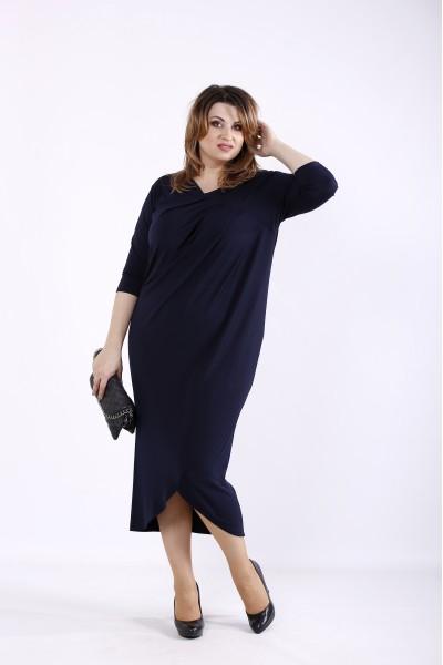 Фото Синее платье ниже колена | 01303-2