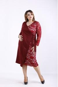 Фото Бордовое платье с гипюром   01311-1