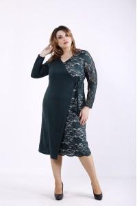 Фото Зеленое асимметричное платье | 01311-2