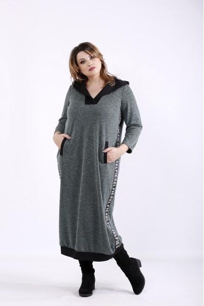 Фото Темно-зеленое практичное платье мешок | 01313-2
