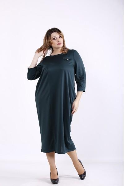 Фото Зеленое платье ниже колена | 01316-1