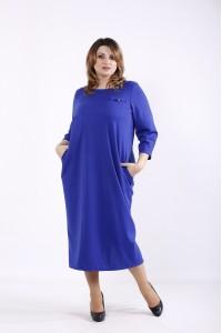 Фото Синее простое и элегантное платье | 01316-3