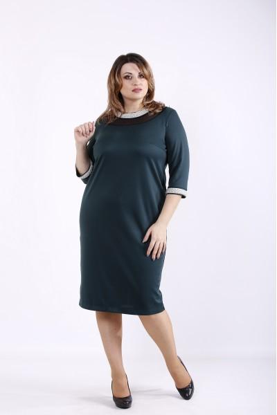 Фото Темно-зеленое трикотажное платье | 01317-3