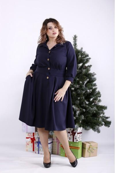 Фото Синее свободное платье | 01320-3