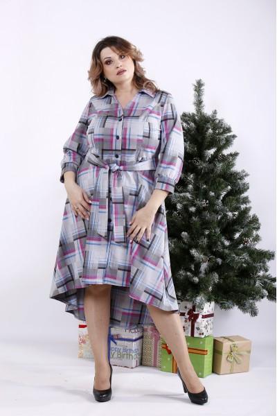 Фото Длинное платье-рубашка с узором | 01321-1