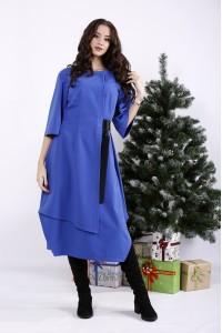 Фото Асимметричное платье электрик с поясом | 01326-1