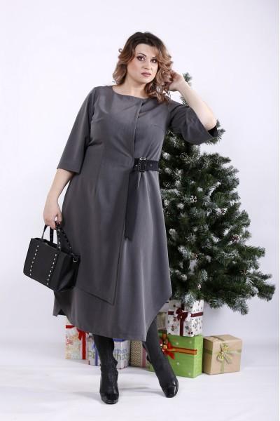Серое оригинальное платье на запахе с поясом   01326-3