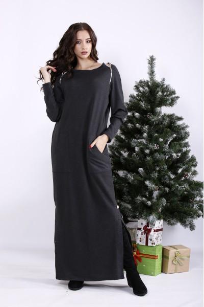 Фото Темно-сіра сукня в підлогу з кишенями | 01332-1