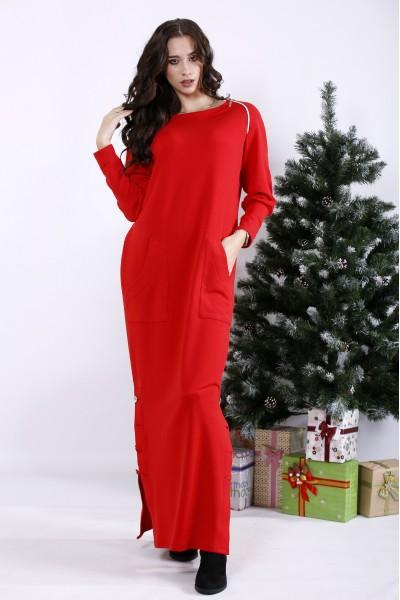 Фото Яскраво-червона сукня в підлогу з кишенями | 01332-2