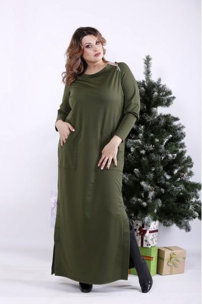 Фото Оригінальна зелена сукня в підлогу | 01332-3