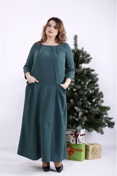 Фото Темно-зелене довге плаття | 01333-3