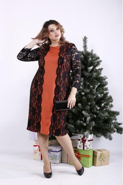 Фото Помаранчеве плаття з гіпюром | 01334-1