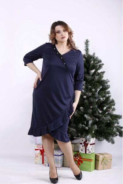 Фото Синє трикотажне плаття | 01335-1