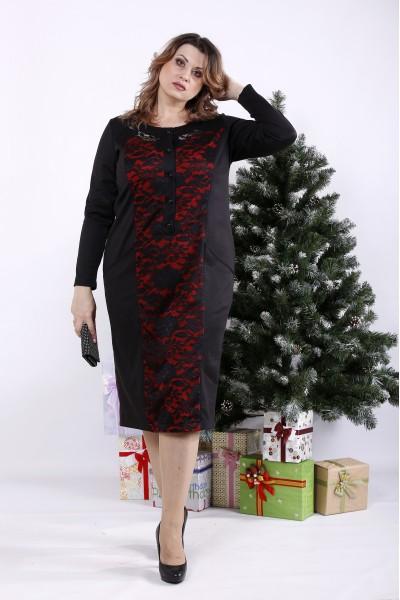 Фото Чорна сукня з червоним | 01336-1