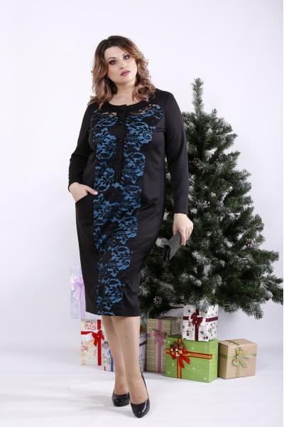 Фото Чорна сукня з блакитним | 01336-3