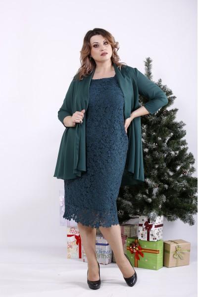 Фото Комплект: зелена сукня і накидка | 01337-2