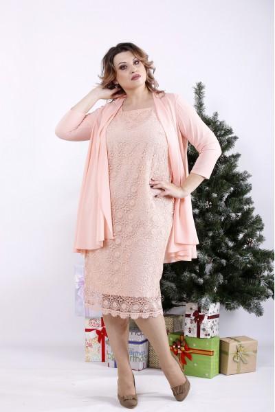Фото Рожевий комплект: плаття і накидка | 01337-3