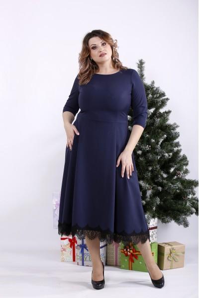 Фото Синє плаття нижче коліна | 01338-2