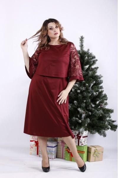Фото Бордова сукня з паєтками | 01339-1