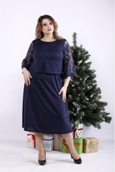 Фото Синее платье с пайетками | 01339-3