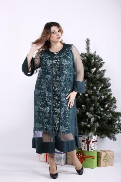 Фото Зеленое платье с органзой | 01340-1